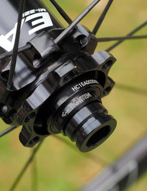 The hubs are easily converted between quick-release and thru-axle fitments