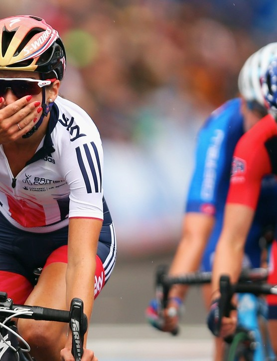 Yorkshire's Lizzie Armitstead crosses the line in Virginia