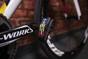The Look pedals also sport world champ colours