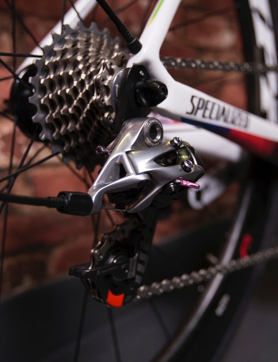 … and the drivetrain is based on SRAM's mechanical Red