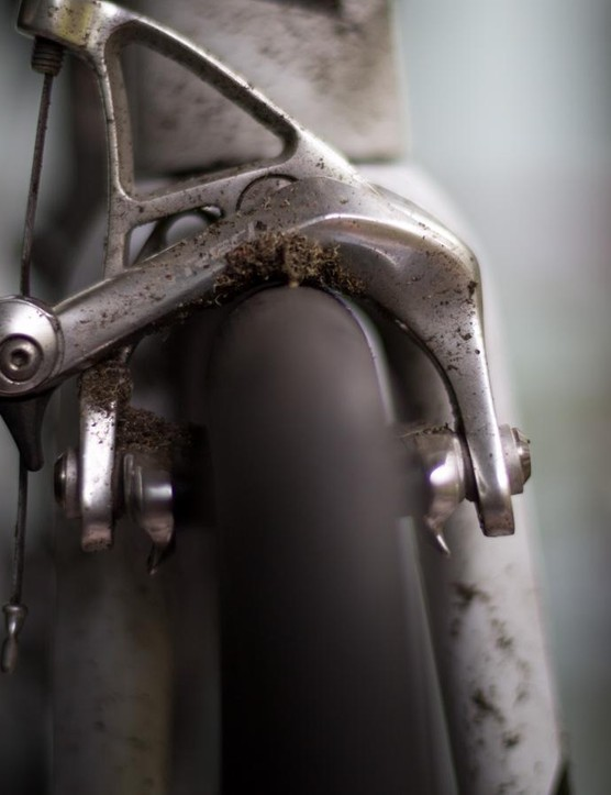 After a ride in the wet, there was plenty of debris built up on the brake. Newer bikes won't have this issue