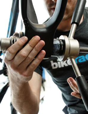 The PF30 bottom bracket also meant a press was needed. We gave the cups a light coating of anti-seize paste