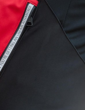 A side pocket on the women's Alpha Jacket bears a motivational message in reflective trim