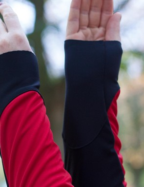 Cuffs are raw-cut to allow a close fit over gloves
