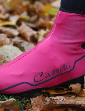 Designed to help keep feet warm and protected, the Castelli Troppo shoe cover comes in vibrant pink, black or yellow