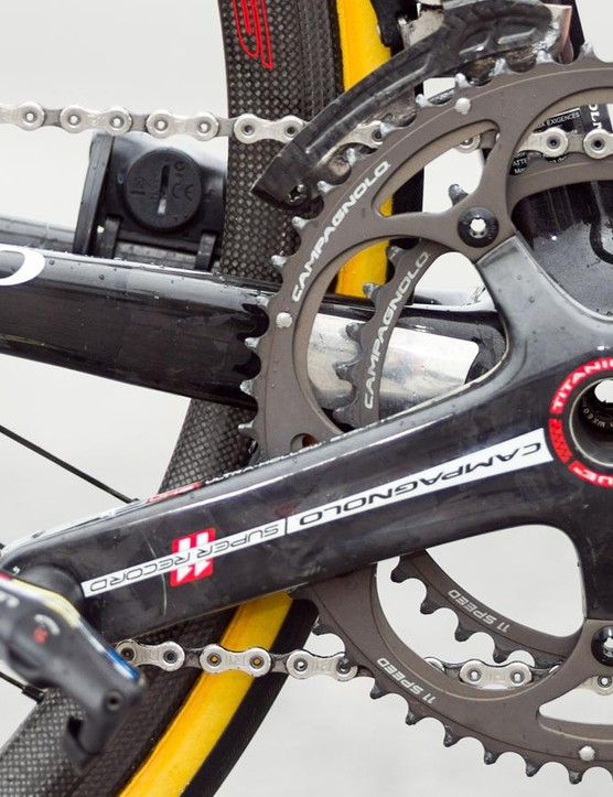 The crankset is SRM Campagnolo 11-speed