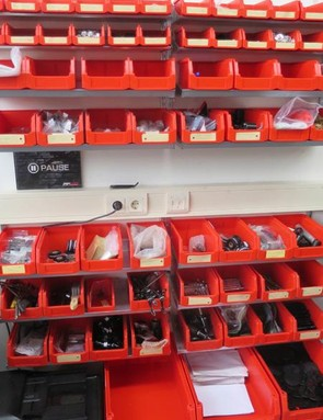 A wall full of service parts is at hand