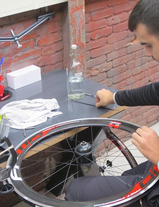 FFWD also builds one-offs in the factory, this is a special-order PowerTap wheelset being assembledFFWD also builds specials in the factory – this is a special-order PowerTap wheelset being assembled