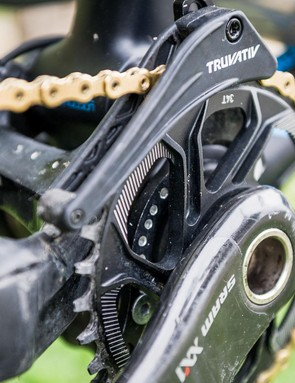 A Truvativ chain guide adds security to the 34t direct-mount chainring. The bike is designed around this gearing, but Vouilloz says he can run a 36t when needed without too much pedal feedback