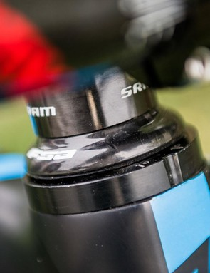 Along with the longer travel fork, the head angle is slackened by a further degree by an offset cup. It helps on the super steep and technical trails of the EWS but Vouilloz says it can make the bike feel a little less fun on his home trails