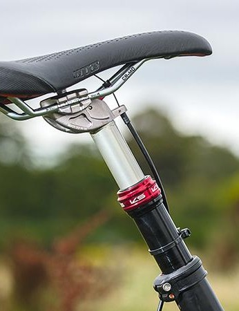 The seat tube is offset, which for tall riders makes for a slacker seat angle