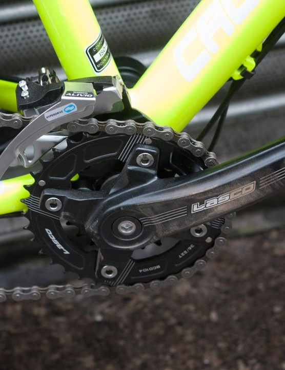 The double crankset combined with an 11-34t cassette should provide ample range for most riding