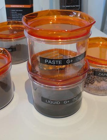 Each of these jars contains 5g of graphene, but in different states: powder, pellets and basic (cotton candy-like)