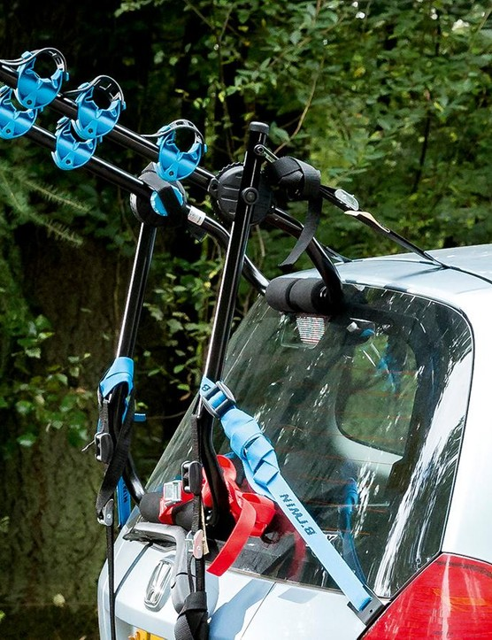 B'Twin's 300 bike rack is a cheap option, and a cheerful one provided you accept its limitations