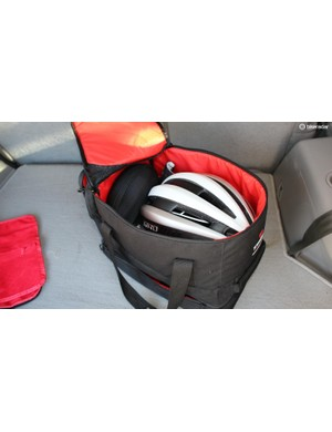 The Bontrager RSL Rain Bag easily fits a day's worth of riding gear, a helmet and sunglasses in the top compartment