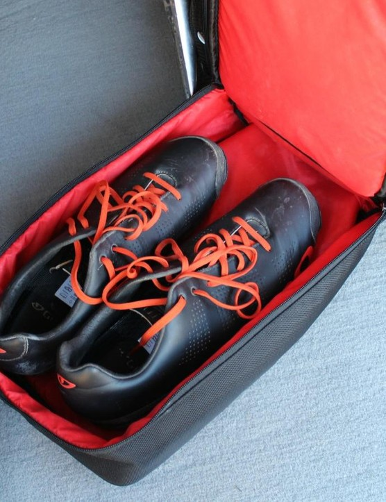 The Bontrager RSL Rain Bag has a separate shoe compartment at the bottom