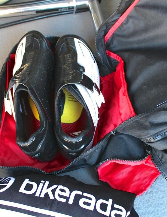 The Castelli Race Rain Bag has a separate compartment for shoes