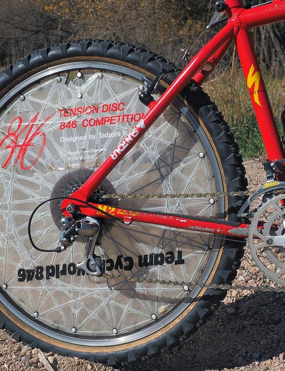Ned Overend says the striking rear tension disc helped temper the stiff ride of the frame, although the flex unfortunately wasn't solely limited to the radial direction
