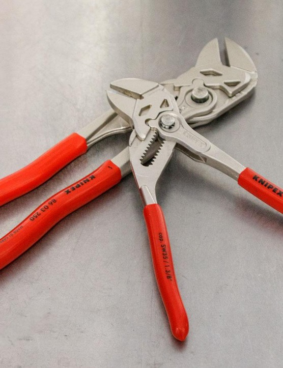 The Knipex Pliers Wrench combines an adjustable spanner and pliers into one. It's a very secure and quick tool to use, especially when working on suspension dampers