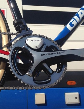 Van der Haar's Dura-Ace 9000 cranks have a special 46/39-tooth chainring combination and a Pioneer Power Meter