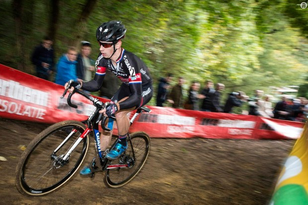 Van der Haar charging to the win the Valkenburg World Cup aboard a Giant TCX Advanced Pro