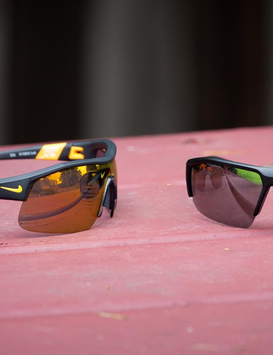 Nike has a rather extensive range of sports eyewear. For review, we have the Show X1 (left) and Skylon Ace XV (right)