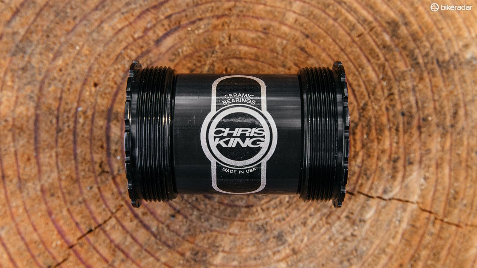 The Chris King Thread Fit 30i bottom bracket works with cranks with 30mm diameter spindles, adapters will be offered for 24mm cranks