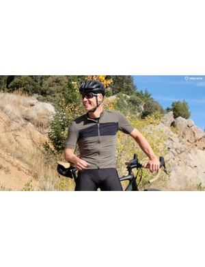 The Specialized RBX DriRelease Merino Jersey shown here has a slightly looser cut than than the race-style SL DriRelease Merino Jersey. Both are mostly polyester with 10% wool, and have a great feel