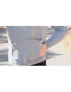 The RBX DriRelease Merino Long Sleeve Jersey zippered pocket has a sweat liner on the body side to product your phone