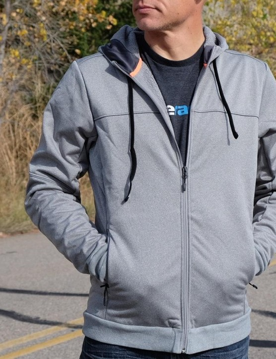 The Utility Hoodie has a water-resistant treatment