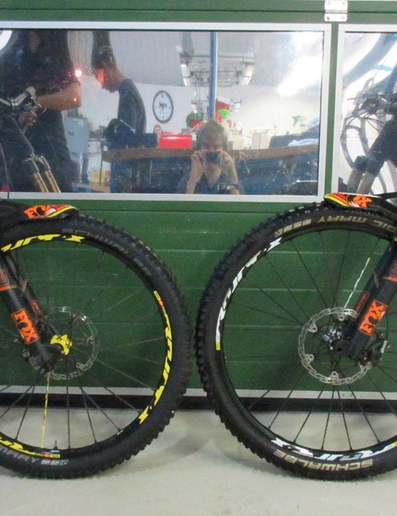 The 29in and 650b GeoMetrons side by side. The bikes were virtually identical aside from the wheel size and fork travel