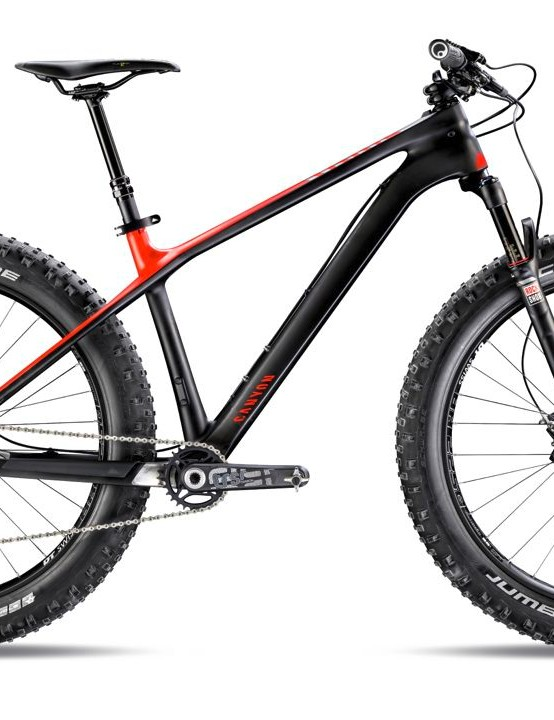 Here's Canyon's top-of-the-tree fat bike, the Dude CF 9.0 EX