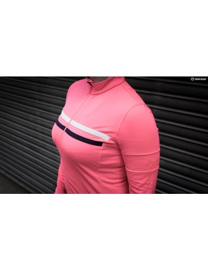 A vibrant pink certainly helps you been seen, along with a reflective white strip front and back at chest level