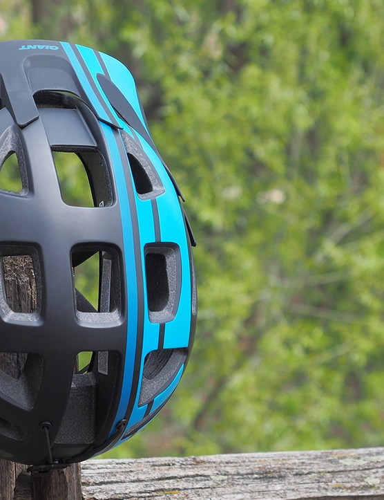 The Giant Rail is unusually well ventilated for a mountain bike helmet with huge ports throughout the exterior