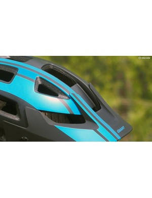 A flat section on the front of the helmet is sized perfectly for a standard stick-on GoPro camera mount