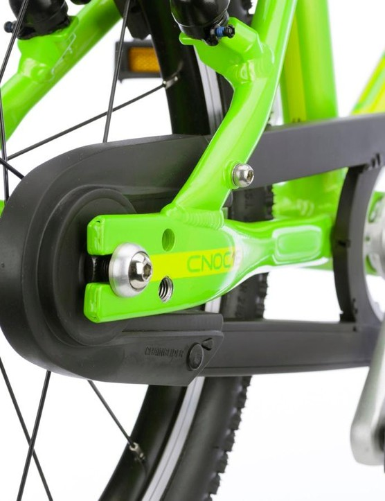 The ChainGlider chain guard completely encloses the chain to keep little fingers (and toes, and shoes, and clothes...) safe