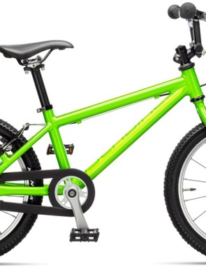 An Islabike Cnoc 16 UK edition. (In the US, federal law requires a coaster brake on bikes of the size, so the Cnoc 16 has a front hand brake and a rear coaster brake