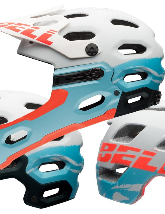 The mountain bike helmets in the Bell Joy Ride collection, including (L to R) Super 2, Super 2R and Rush