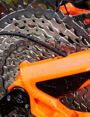 Shimano's new wide-range 11-42t XT cassette is nice to have on long climbs