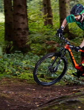 The Helion lights up on technical singletrack