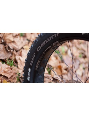 The Fat CAAD rolls on MuleFut 80 SL rims from Sun Ringle, and these wrapped in monstrous 4.8in versions of Schwalbe's Jumbo Jim rubber
