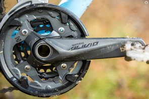 You can remove the plastic trouser protector from the Alivio crankset, and the Shimano bottom bracket is very durable