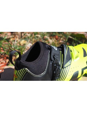 The neoprene sock effectively seals off the inside of the shoe from road spray and chilly air