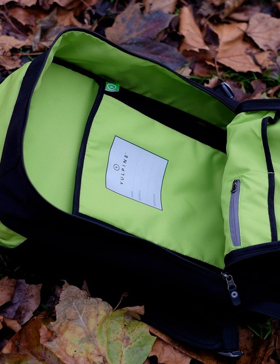 Inside there's a polyester lining in Vulpine's signature green along with two relatively shallow compartments and one very small zipped pocket