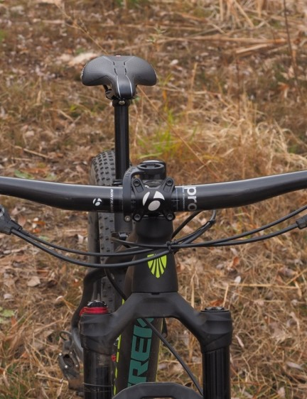 The Bontrager Rhythm Pro bar is usefully wide at 760mm from end to end. A no-rise shape would make for more positioning flexibility, however, since it's always easier to go higher than lower