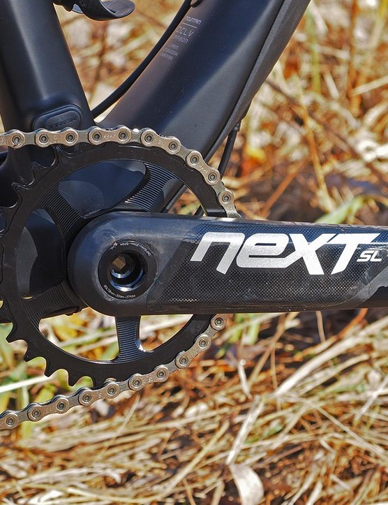The Race Face Next SL carbon crankset is ultralight and yet remarkably durable
