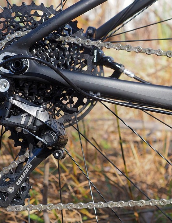 The SRAM X1/XO1 drivetrain delivers a usefully wide range of gearing