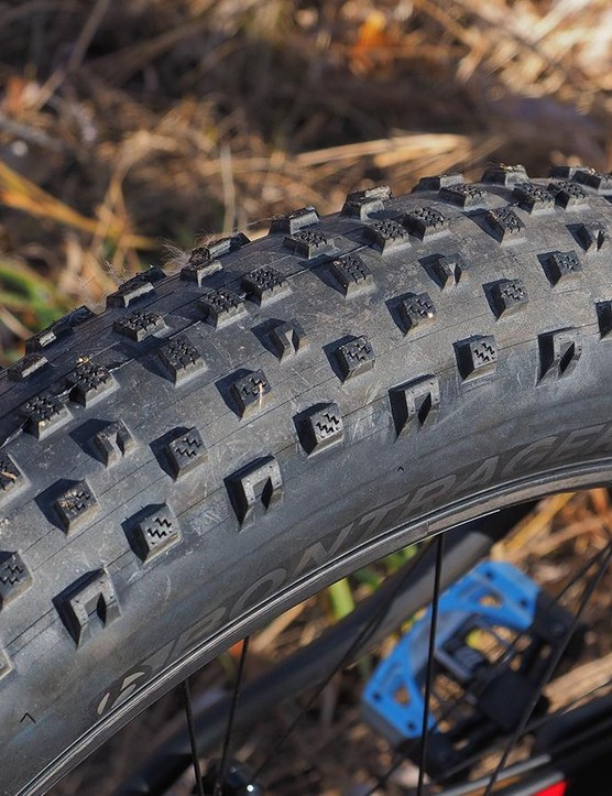 The Bontrager Hodag tires look like they'll hold their own in packed snow but so far, they're also proving to be quite capable in dry conditions