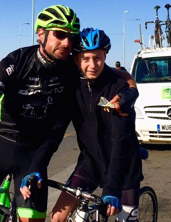 50km out from finishing the epic, Mark Blewett was reunited with his son Tom