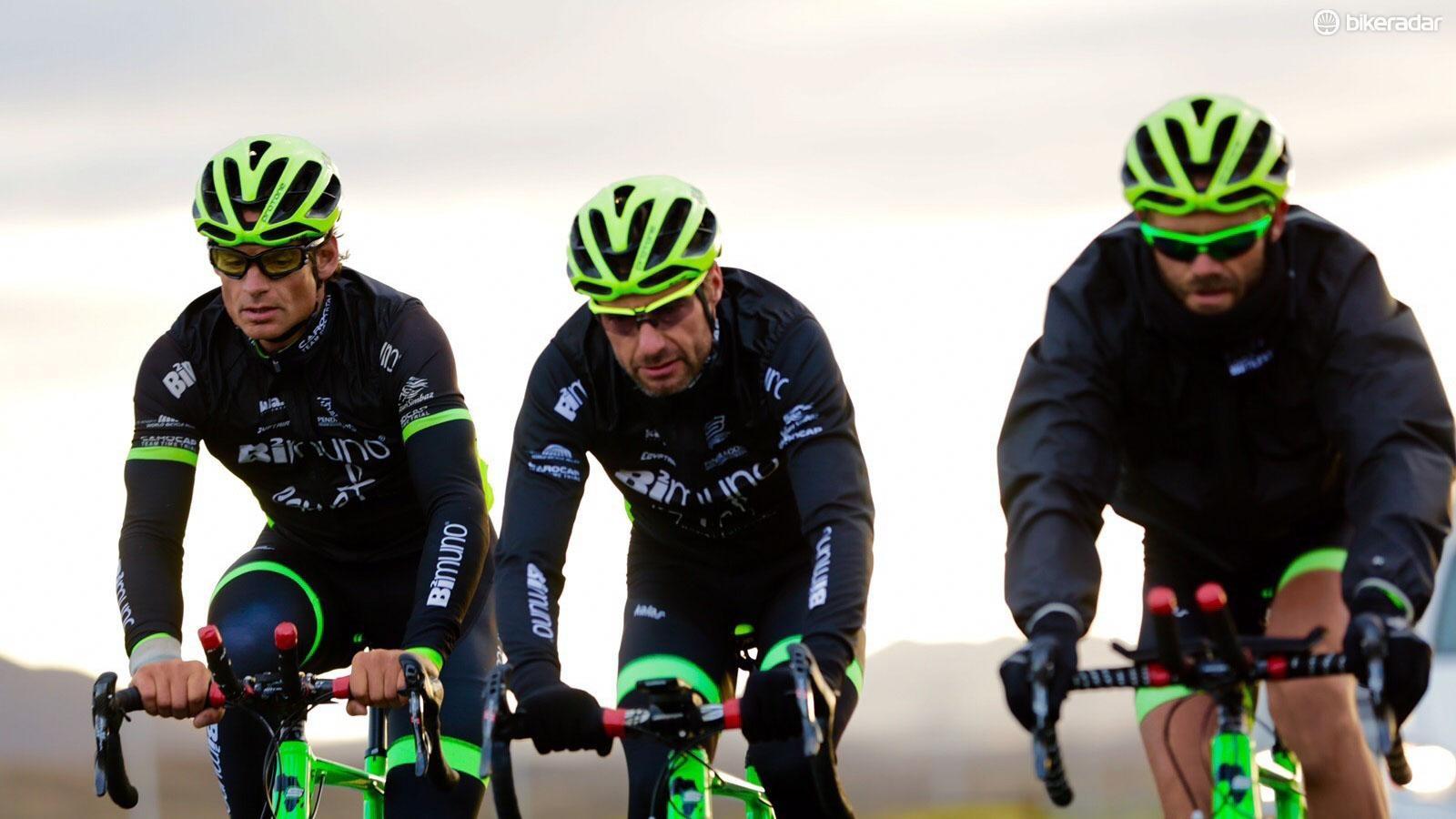 South African Mark Blewett riding between Englishman Nicolas Bourne and Zimbabwean David Martin